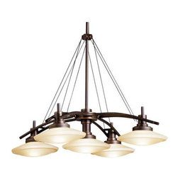 Kichler Lighting - Kichler Five-Light Chandelier - 2055OZ - Five disk-shaped shades of warm umber glass make this chandelier a uniquely decorative addition to nearly any room. The four outer shades hang in a square formation around the center shade, giving the fixture a symmetrical look and providing an even range of light. This elegant and sophisticated chandelier would look perfect over a dining table or in an entryway. Comes with 90 inches of extra lead wire and accommodates ceiling slopes up to 45 degrees. Takes (5) 100-watt halogen T4 bulb(s). Bulb(s) sold separately. Dry location rated.