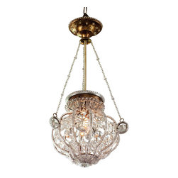 """Inviting Home - Florentine style Small Crystal Chandelier - 19th century Florentine style crystal chandelier; 12-1/2"""" x 25""""H; hand-crafted in Italy; 19th century Florentine style crystal chandelier. This crystal chandelier uses one standard light bulb. This chandelier is hand-crafted in Italy. UL approved - dry location; hardwire; 1x 60W max. candelabra bulds; bulbs not included. Approx. 6 feet of chain/wire drop provided. Handcrafted in Italy."""
