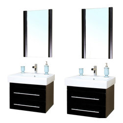 Bellaterra - 48.5 In Double Wall Mount Style Sink Vanity - Wood - Black - There is always great design in simplicity. Perfect for a small space, this set of two modern wall mount style bathroom vanity features oversized ceramic sinks. Vanity dimension:  48.5Wx18.9Dx20H * ** * Birch* Black* White Ceramic * White Ceramic Sink*Chrome finish hardware* Pre-drilled with 1 hole - One slot faucet, faucet and mirror not included* Slight assembly required. Dimensions: 48.5 in. x 18.9 in.