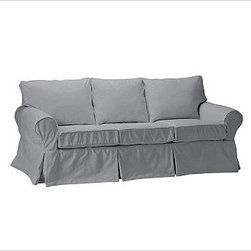 """PB Basic Slipcovered Sleeper Sofa, Polyester Wrap Cushions, Twill Metal Gray - Our PB Basic Collection is crafted with the same attention to quality, detail and durability that's been the hallmark of American-made furniture for hundreds of years. The sleeper sofa has long been a relaxed, comfortable favorite. 83"""" w x 35"""" d x 35"""" h {{link path='pages/popups/PB-FG-Basic-3.html' class='popup' width='720' height='800'}}View the dimension diagram for more information{{/link}}. {{link path='pages/popups/PB-FG-Basic-6.html' class='popup' width='720' height='800'}}The fit & measuring guide should be read prior to placing your order{{/link}}. Polyester wrapped cushions provide a tailored and neat look. Proudly made in America, {{link path='/stylehouse/videos/videos/pbq_v36_rel.html?cm_sp=Video_PIP-_-PBQUALITY-_-SUTTER_STREET' class='popup' width='950' height='300'}}view video{{/link}}. For shipping and return information, click on the shipping info tab. When making your selection, see the Special Order fabrics below. {{link path='pages/popups/PB-FG-Basic-7.html' class='popup' width='720' height='800'}} Additional fabrics not shown below can be seen here{{/link}}. Please call 1.888.779.5176 to place your order for these additional fabrics."""