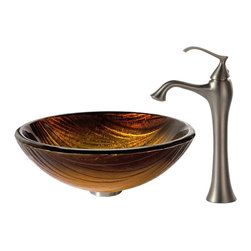 Kraus - Kraus Midas Glass Vessel Sink and Ventus Faucet Brushed Nickel - *The layered pattern of the Midas sink creates a dynamic surface for flowing water, while the rich golden tones add a touch of warmth. Pair it with the soft curves of the classically inspired Ventus faucet in brushed nickel for a hint of vintage flair