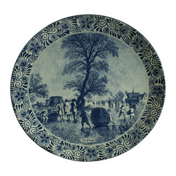 Chemkefa - Consigned Vintage Blue Delft Plate Charger with Winter - Product Details