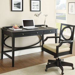Coaster - 800463 Black Contemporary Desk - With style and function in mind, this contemporary collection has it all. The desk features a rich black finish with a leather-like inlay on the surface which provides a softer work area, as well as storage drawers. Pair this desk with a matching bookshelf with raised ledges to keep everything in place. An office chair with casters and padded seating is also available.