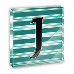 "Made on Terra - Letter J Initial Black Teal Stripes Mini Desk Plaque and Paperweight - You glance over at your miniature acrylic plaque and your spirits are instantly lifted. It's just too cute! From it's petite size to the unique design, it's the perfect punctuation for your shelf or desk, depending on where you want to place it at that moment. At this moment, it's standing up on its own, but you know it also looks great flat on a desk as a paper weight. Choose from Made on Terra's many wonderful acrylic decorations. Measures approximately 4"" width x 4"" in length x 1/2"" in depth. Made of acrylic. Artwork is printed on the back for a cool effect. Self-standing."