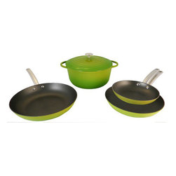 Le Chef Cookware - Le Chef 5 Piece Enamel Cast Iron Cookware Set, Palm - Le Chef 5 Piece Cookware Palm Set is colorful and stylish cookware set elegantly present the warmth and care that goes into preparing a meal. The 5 Piece Cookware Palm Set is evenly conduct and retain heat while withstanding the rigors of daily use. Porcelain enamel interior finish requires no seasoning and resists scratches and chips. Goes easily from oven to table for beautiful presentation. The flat bottoms are enameled as the Palm exterior.  Fry Pans riveted hollow stainless steel handle stays cool. Safe on all cook tops and in the oven to 475 degrees F. Durable finish requires no seasoning and is easy to clean Great performance and heat retention. Enamel cast iron construction for great cooking and a century of use.