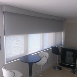 Motorized Solar Roller Shades with Blackout Cellular - Comfort Shades