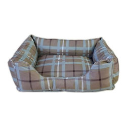 Carolina Pet Company - Brutus Tuff Kuddle Lounge, Blue/Brown Plaid, 36 X 27 X 10 - Super tough for pets that are rough on their beds.  1200 D Polyester fabric makes this the perfect bed for pets that like to scratch or chew.  Easy off zippered cover for easy care.  Machine washable.  100% recycled high loft Polyester fill keeps pets off cold floors for added comfort and relief on hips, joints and pressure points.