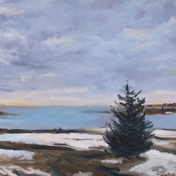 """Baldwin Bay"" Artwork - Painting done at wintertime at a park at the mouth of baldwin bay in freeport , long island."