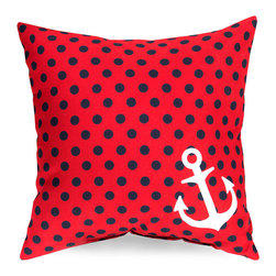 Anchor and Dots Pillow - Red - Conveying seaside cheer in bold, crisp colors, the design of the Anchor and Dots Pillow uses an asymmetrical embellishment - a white silhouetted anchor placed in one corner - to highlight an expanse of evenly-placed black and red dots. Adding this pillow to an arrangement of nautical details or to a streamlined sofa suggests a simple pleasure in your home accents.