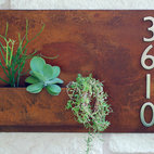 "Urban Mettle - Hanging Planter & Metal Address Plaque, Succulent Wall Decor - 20"" x 30"" - Model #: Urban Mettle Planter"
