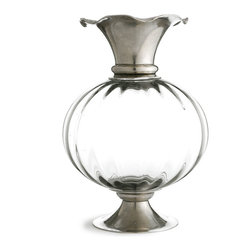 Giovanna Pewter and Crystal Vase - A fluted globe of clear glass is gracefully echoed by the scallops of the Giovanna Pewter and Crystal Vase's trumpet-shaped mouth, a subtly floral detail that gently governs the fall of twigs or stems placed in this elegant vessel. Made from glass and authentic European pewter, this high-quality vase makes an upscale centerpiece in every season.