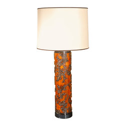 Late 1800s Wallpaper Roller Lamp - Lamps are another great way to inject color accents in a space. This old 1800s European wallpaper roller was made into a lamp in the early 1990s, and I love the orange color.