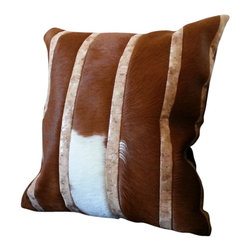 "Gambrell Renard - GR Brown & White Leather, Cowhide, & Cork Pillow 20""x20"" - Size: 20""x20"""
