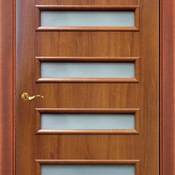 Modern Interior Doors - Economy class modern interior door. The door is constructed with solid wood blocks (pine) and MDF panels. Finished with artificial eco-friendly veneer. It's not completely solid, no hollow. It offers the look of a solid veneered door but with a price of a panel MDF door. Full set price is $205 includes door slab, door frame and casing. Available in mahogany and wenge colors, as well as glass or no glass option.