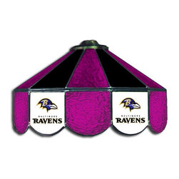 Imperial International - Baltimore Ravens NFL 16 - This 16-inch glass lamp is a great way to properly light your Pool Table while showing off your team spirit then. Real stained glass that matches your favorite teams colors. Looks great in any game room. Rack 'Em Up!