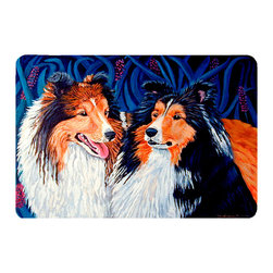 Caroline's Treasures - Sheltie Kitchen Or Bath Mat 20X30 - Kitchen or Bath COMFORT FLOOR MAT This mat is 20 inch by 30 inch.  Comfort Mat / Carpet / Rug that is Made and Printed in the USA. A foam cushion is attached to the bottom of the mat for comfort when standing. The mat has been permenantly dyed for moderate traffic. Durable and fade resistant. The back of the mat is rubber backed to keep the mat from slipping on a smooth floor. Use pressure and water from garden hose or power washer to clean the mat.  Vacuuming only with the hard wood floor setting, as to not pull up the knap of the felt.   Avoid soap or cleaner that produces suds when cleaning.  It will be difficult to get the suds out of the mat.