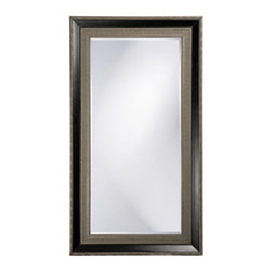 "Howard Elliott - Arnaud Rectangular Textured Silver Leaf Mirror - This Traditional mirror features an Art Deco styled rectangular wood frame. The inner and outer border is textured and colored with an antique silver finish with a smooth black inset. Its oversized stature makes it perfect for leaning against the wall. Frame Dimensions: 45""W x 83""H X 3""D; Mirror Dimensions: 32""W x 70""H; Finish: Textured Silver Leaf (Light Golden Hues) with Black Inset; Material: Wood;Beveled: Yes;Shape: Rectangular;Weight: 110 lbs;Included: Brackets, Ready to Hang Vertically or Horizontally"