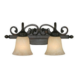 Golden Lighting - Belle Meade 2-Light Vanity - Take a long gaze. Opulent scrolling accents, rubbed bronze finish and warm tea stone glass, the makeup of radiant vanity lights. It's enough beauty to make you blush.