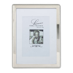 Lawrence Frames - Silver Metal 8x10 Picture Frame with Delicate Outer Border of Beads - Gorgeous decorative silver metal picture frame with a delicate bead outer border.  This polished silver metal frame has a rich and lustrous silver finish.  High quality black  velvet backing with easel for vertical or horizontal tabletop display, and comes with hangers for vertical or horizontal wall mounting.    Heavy weight cast metal picture frame is made with exceptional workmanship and comes individually boxed.  In this style the 8x10 size comes with a white acid free bevel cut mat for a 5x7 photo.