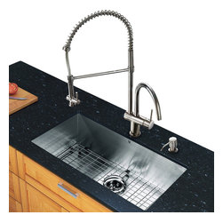 Vigo - All in One 32in.  Undermount Stainless Steel Kitchen Sink and Chrome Faucet Set - Breathe new life into your kitchen with a VIGO All in One Kitchen Set featuring a 32in.  Undermount kitchen sink, faucet, soap dispenser, matching bottom grid and sink strainer.