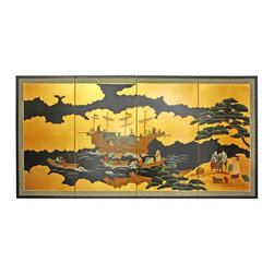"Oriental Furniture - 36"" Dragon Boat on Gold Leaf - Evoke images of the Orient with this soft and beautiful, hand-painted gold leaf rendition of a dragon boat off the banks of a river. Note that no two renderings are exactly the same. Subtle, beautiful hand painted wall art."