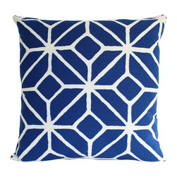 The Pillow Studio - Two-sided Outdoor Pillow Cover in Blue and White Trellis Design - Two-sided Schumacher Pillow Covers Blue and White Trellis Design.  I love this bold, trellis design and the contrast between the deep marine blue and the crisp white.