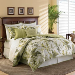 Tommy Bahama - Tommy Bahama Home Island Botanical Comforter Set - The swaying palms and tropical florals of this bedding create a lush atmosphere reminiscent of a resort getaway. A great way to turn your bedroom into an island paradise.