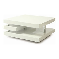 """Pastel Furniture - Pastel Furniture Viceroy 36 Inch Square Coffee Table in White - The Viceroy coffee table with its very modern and unique design will add style and elegance to your living area. This 47"""" x 24"""" rectangular coffee table comes in glossy white wood with chrome design."""