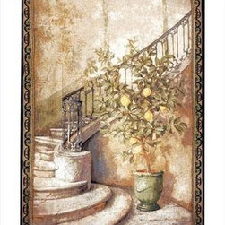 `Lemon Stairwell` Woven Tapestry Wall Hanging 56 In. X 80 In. - This woven tapestry wall hanging measures 56 inches wide, 80 inches long, and depicts a lemon tree at the bottom of a swooping marble staircase. It makes a great gift. Note: this tapestry does not come with a hanger bar.