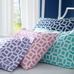 Peyton Extra Pillowcases - I love these for a girl's room. Choose a white sheet set to pair with these fabulous, colorful, geometric pillowcases.