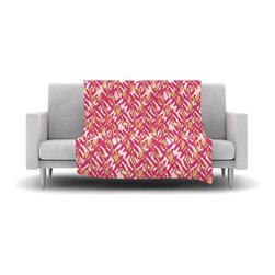 """Kess InHouse - Nandita Singh """"Abstract Print Pink"""" Pink Red Fleece Blanket (90"""" x 90"""") - Now you can be warm AND cool, which isn't possible with a snuggie. This completely custom and one-of-a-kind Kess InHouse Fleece Throw Blanket is the perfect accent to your couch! This fleece will add so much flare draped on your sofa or draped on you. Also this fleece actually loves being washed, as it's machine washable with no image fading."""