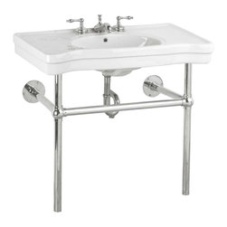 Renovators Supply - White China Belle Epoque Console Sink, Chrome Bistro - Console Sinks: BELLE EPOQUE. Captures the elegance of the Belle Epoque. Spacious countertop- self-draining soap dishes- protective splashguard rim. Chrome-plated brass frame and integral towel bar. Grade A vitreous china construction with a SCRATCH & STAIN resistant RENO-GLOSS finish. Accepts an 8 in. widespread faucet sold separately. Measures 33 1/4 in. H x 35 1/2 in. W front x 19 3/4 in. proj.