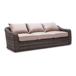 Light Brown Praia Sofa - This light brown sofa by Zuo Modern has an aluminum frame finish and is from their Praia collection. It's the perfect sofa to compliment any patio or garden!