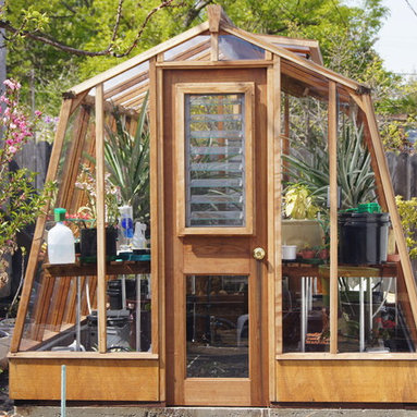 Solite greenhouse kits - 8 x 11 Solite greenhouse.  Redwood frame, Sturdi-built wooden base. Filled with pineapple plants!