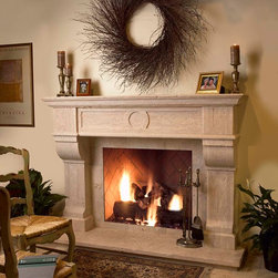 "Showroom Stone Fireplace Surrounds - Hand carved in Italy,  Tuscan style Castelllo Travertine natural stone fireplace surround with antique finish.  Size is 74"" x 54"".  Custom sizes and designs available"