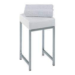 Modo Bath - Harmony 502 Stool in Chrome or Nickel Satin with Black or White Top - Harmony 502 Stool in Chrome with Black or White Top