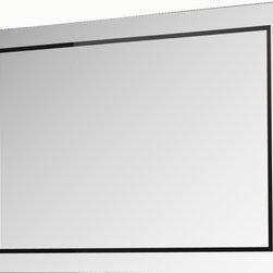 "Riga 31"" 1/2 frameless mirror. - Riga 31"" 1/2 bathroom mirror. black decorative line."