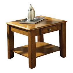 Steve Silver - Nelson End Table - Oak - Bring style and function into your home with the Nelson collection. This end table features one drawer for storage, and a bottom shelf for magazines all wrapped in Oak finish.