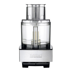 Cuisinart - Custom 14-Cup Food Processor - Food prep made easy. This food processor makes short work of slicing, shredding, chopping and mixing ingredients, so it's easy to craft quick weeknight meals and weekend celebrations from scratch. The generously sized work bowl holds 14 cups, and a how-to DVD makes it easy to master this time-saving kitchen addition.   Includes food processor, bowl, cover, feed tube, pusher, standard slicing disc, medium shredding disc, chopping/mixing blade, dough blade, disc stem, spatula, how-to DVD and instruction/recipe booklet 9.75'' W x 15.75'' H x 7.5'' D Holds 14 cups Stainless steel / plastic BPA-free Hand wash 5-year motor warranty 3-year limited warranty Imported