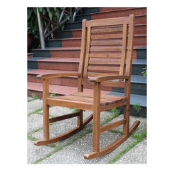 International Caravan - Outdoor Rocking Chair - All weather resistant. UV light fading protection. Beautiful contemporary rocker design. Smooth rocking motion. Dual stain finish. Made from premium palm dale acacia outdoor hardwood. Made in Vietnam. Minimal assembly required. 24.5 in. W x 35.5 in. D x 43 in. H (31 lbs.)