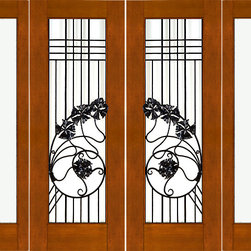 "Prehung Double 2-1/4 Art Nouveau Mahogany Doors Sidelites Low-E Iron Work - SKU#    NW-1637-Ext-2-2Brand    AAWDoor Type    ExteriorManufacturer Collection    New World DoorsDoor Model    Door Material    WoodWoodgrain    MahoganyVeneer    Price    7768Door Size Options    2(30"")+2(18"") x 80"" (8'-0"" x 6'-8"")  $02(36"")+2(18"") x 80"" (9'-0"" x 6'-8"")  +$1002(30"")+2(18"") x 96"" (8'-0"" x 8'-0"")  +$7282(36"")+2(18"") x 96"" (9'-0"" x 8'-0"")  +$828Core Type    SolidDoor Style    Art NouveauDoor Lite Style    Full Lite , 1 LiteDoor Panel Style    Home Style Matching    ContemporaryDoor Construction    Engineered Stiles and RailsPrehanging Options    PrehungPrehung Configuration    Double Door with Two SidelitesDoor Thickness (Inches)    2.25Glass Thickness (Inches)    1/2Glass Type    Double GlazedGlass Caming    Glass Features    Insulated , Tempered , Low-EGlass Style    Clear , Matte , Art Glass , Glass DropsGlass Texture    Clear , Matte , Art Glass , Glass DropsGlass Obscurity    Door Features    Door Approvals    FSCDoor Finishes    Door Accessories    Weight (lbs)    1190Crating Size    25"" (w)x 108"" (l)x 52"" (h)Lead Time    Slab Doors: 7 daysPrehung:14 daysPrefinished, PreHung:21 daysWarranty    1 Year Limited Manufacturer WarrantyHere you can download warranty PDF document."
