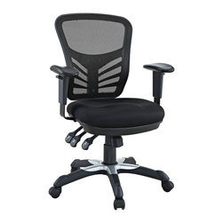 Modway - Modway EEI-757 Articulate Office Chair in Black - Mark a turning point in your office tasks with this upright and ergonomic mesh office chair. Let the breathable mesh back and plush fabric cushion seat serve as a simple extension to your everyday home and business ventures. The back height and seat depth are both easily adjustable to fit your height and size, while two sturdy armrests height adjust to assist your vertical seat posturing. Articulate also includes tilt tension and lock functions to recline and incline comfortably as needed. Fitted with five hooded dual-caster wheels, give yourself the ability to easily glide over carpeted floors while naturally performing tasks without exertion.