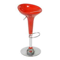 Eurostyle - Eurostyle Ashby Adjustable Height Swivel Bar/Counter Stool in Red - Adjustable Height Swivel Bar/Counter Stool in Red belongs to Ashby Collection by Eurostyle Recommended table height for the Ashby Adjustable Bar Stool is 32 to 43 inches. Highly charged colors wrapped in glossy finishes define the mod Ashby Adjustable Bar Stool. A touch of retro design ensures the molded seat looks good behind a mid-century bar or add spice to ultra-modern decor. The stool's seatback rests just at the lower back for surprising support and a streamlined look. Fully adjustable seat features a smooth gas lift and swivel action. Height adjusts from 22 inches at its lowest to 30 inches at its highest. The foot rest and base are made of Chromed Steel. The seat is made of molded ABS plastic, a look and feel much like acrylic. You'll love the smooth, comfortable finish and contoured style of this bar stool. Bar Stool (1)