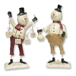 Pair of Snowmen Resin Figurines - Make Christmas more memorable with these 6 Inch Snowmen Resin Figurines. Each snowman is hand-painted in traditional holiday colors to highlight its quirky personality, while the solid body allows it to rest comfortably on surfaces.
