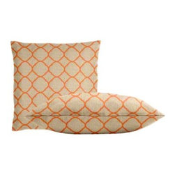 "Cushion Source - Sunbrella Accord Koi Throw Pillow Set - The Sunbrella Accord Koi Outdoor Throw Pillow Set consists of two 18"" x 18"" throw pillows featuring a jacquard lattice pattern in orange on a beige background."