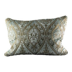 Design Accents Baroque Pillow - Duckegg / Gold - All the allure of a Faberge egg, but without the price tag, the Design Accents Baroque Pillow - Duckegg / Gold will be the jewel of the whole room. The top quality blue velvet cover features an elegant gold pattern that's sure to inspire compliments. The polyester and polyfill insert ensure this pillow will keep its shape for lasting beauty.