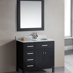 Design Element - London 36-Inch Single Sink Espresso 4-Drawer Vanity Set - The London 36-inch single sink vanity cabinet set is constructed with solid wood and provides a contemporary design perfect for any bathroom remodel. This vanity set features a beautiful espresso finish and luxurious satin nickel hardware.
