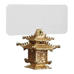 """L'Objet - L'Objet Pagoda Place Card Holders, Gold, Set of 25 - Modern in style yet traditional in essence, L'Objet Place Card Holders are an elegant addition to the table. Layered in 24K gold or platinum, the collection is rich in details, including hand-set Swarovski crystals and semi-precious gemstones. Gold-Plating, Set of 6Semi-Precious StoneMeasures: 1.5"""" x 2"""" , 4cm x 5cmIncludes: Place Cards (Set of 25); Refill available. Luxuriously Gift Boxed"""