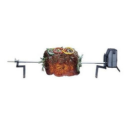 """Char-Broil - Char-Broil Deluxe Electric Rotisserie - Deluxe Electric Rotisserie Universal Fit Ideal for care-free cooking of roasts hams and poultry. Mounts to grill castings from Char Broil Sunbeam Thermos and more.  Electric motor with on off switch.  Mounts to casting.  Two 4 prong meat forks.  Easy to install.  2 piece spit rod 37"""" long."""