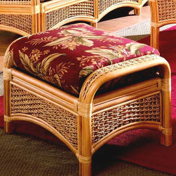 Spice Island Wicker - Wicker Ottoman with Cushion (Nirvana Stripe Toffee - All Weather) - Fabric: Nirvana Stripe Toffee (All Weather)Accent your woven wicker and rattan furniture with this matching ottoman.  Natural finished woven rattan frame is appealing with  gracefully arched aprons, wicker inserts and sloped side panels.  Super-soft cushion is ideal for soothing feet-up relaxation.  Discover additional correlating pieces from this collection and great fabric choices!  Arched wicker apron is reinforced with a caned frame. * Solid Wicker Construction. Natural Finish. For indoor, or covered patio use only. Includes cushion. 32 in. W x 19 in. D x 18 in. H